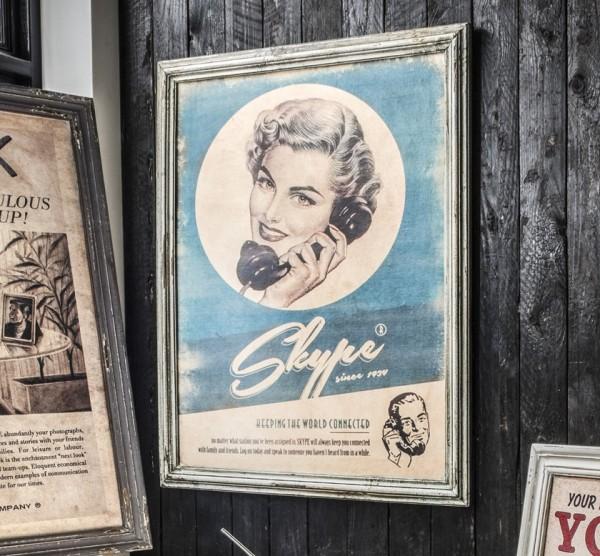 """Vintage-Wandbild 74x93cm """"Vintage I"""" Druck auf Holz"""