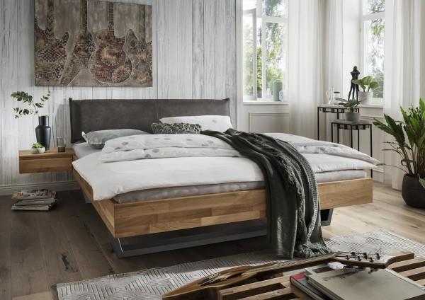 Doppelbett mit Polsterkopfteil 'Astoria III' 180x200cm Wildeiche geölt