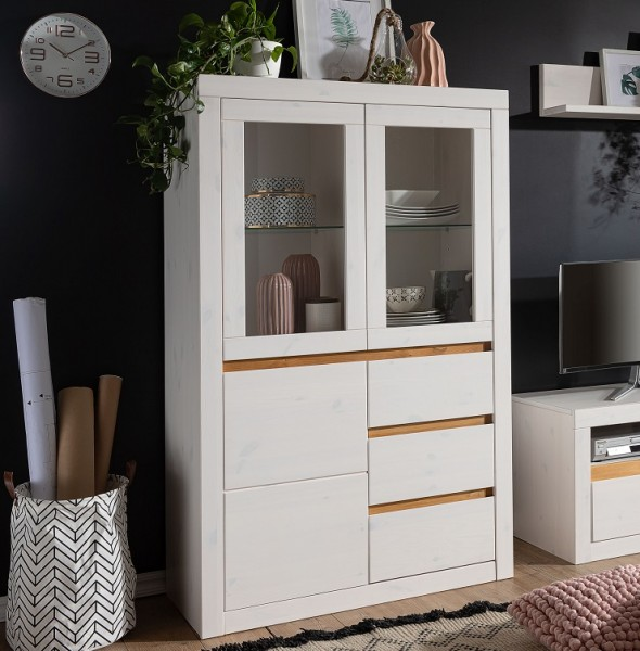 Highboard 95cm 'Porto' Kiefer weiß