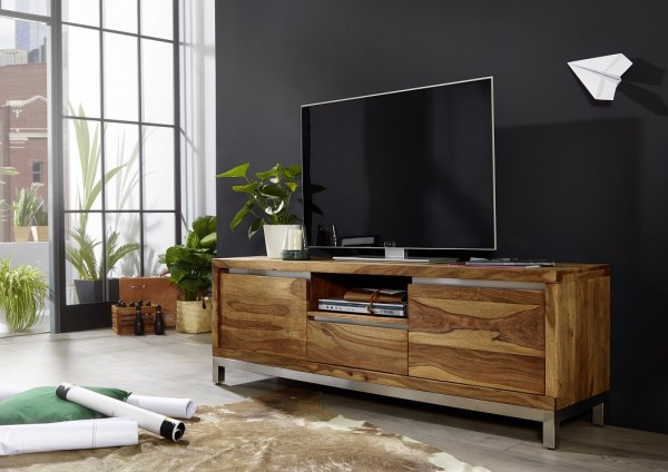 """TV Element I 170x56cm """"Orlando"""" Sheesham & Edelstahl"""