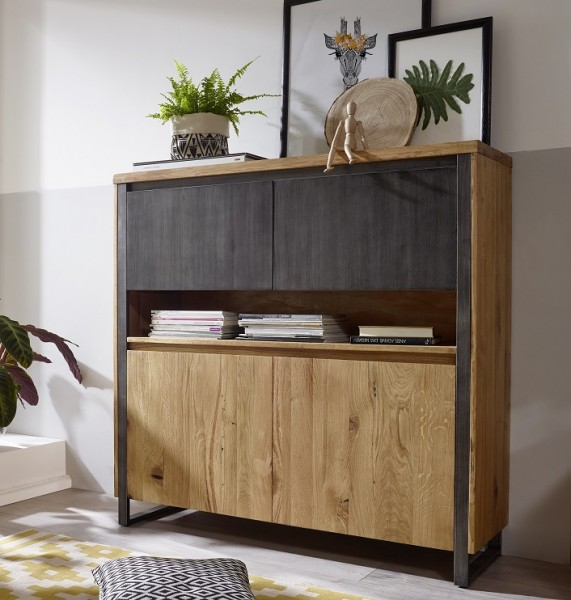 Highboard 130cm 'Taipeh' Wildeiche massiv