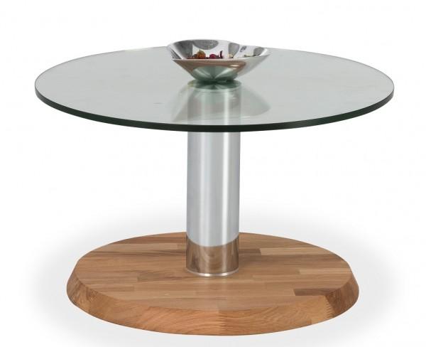 Couchtisch mit Glasplatte 60cm 'Allegro' Wildeiche massiv