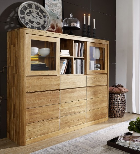 "Highboard 160x139cm 'San Remo""' Wildeiche geölt"
