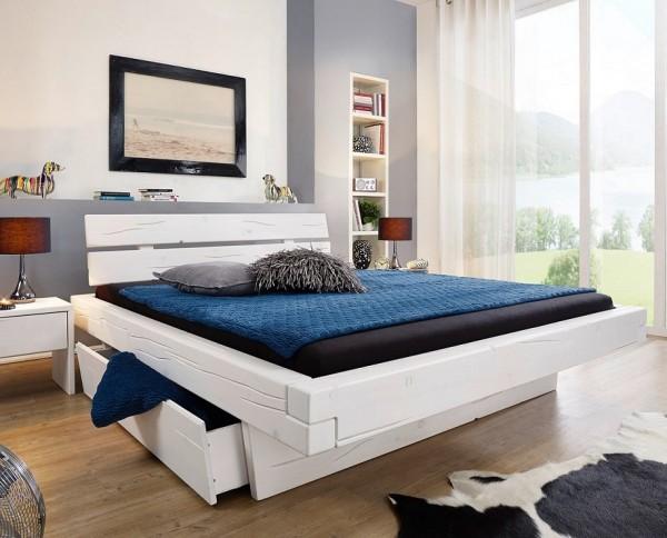 Balkenbett mit Bettkästen 'Melissa' 200x200cm Fichte weiß BE-0285