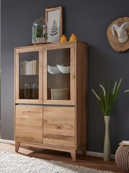 Highboard 102cm 'Pharao' Wildeiche & grau