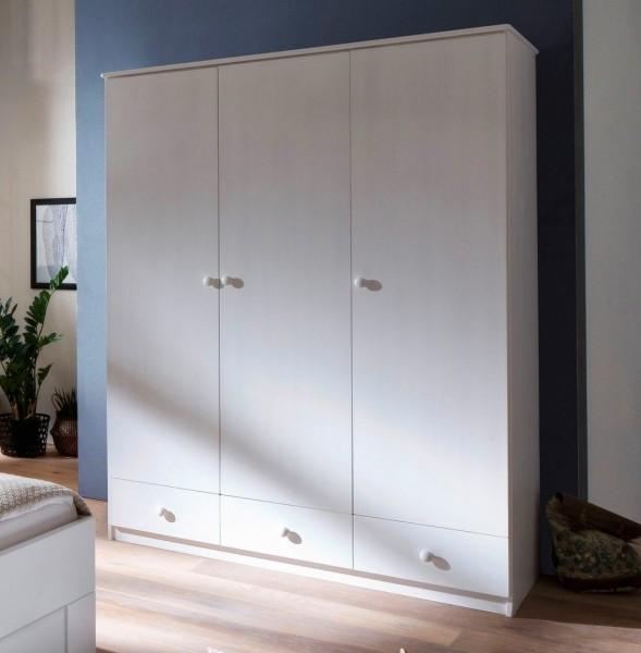 Kleiderschrank 3-trg. 150cm 'Alice' Fichte weiß