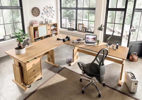 Schreibtischkombination 'Lars' Wildeiche geölt
