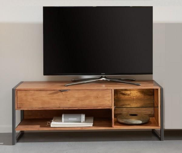 TV Element mit Beleuchtung 129x49cm 'Havanna' Akazie & Metall