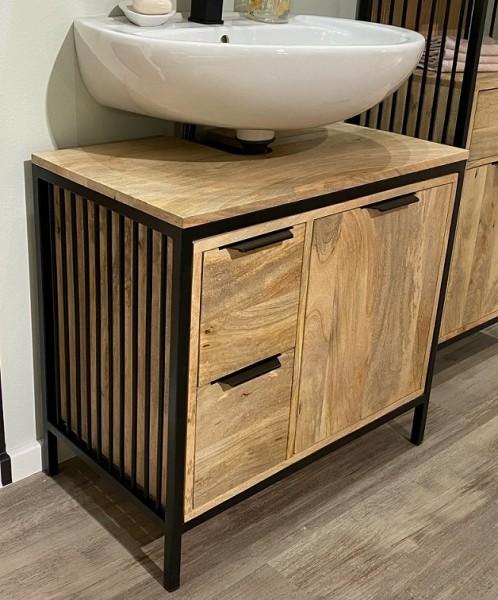 Waschbeckenunterschrank 68x63cm 'Brooklyn' Mango & Metall schwarz