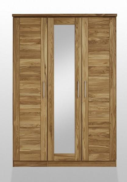 Kleiderschrank mit Spiegel 'Meran' 3-trg. Wildeiche geölt