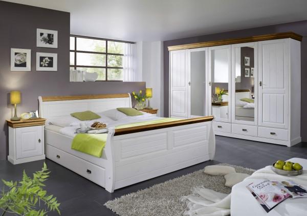 """Schlafzimmer """"Mailand-Honig"""" Kiefer weiß"""