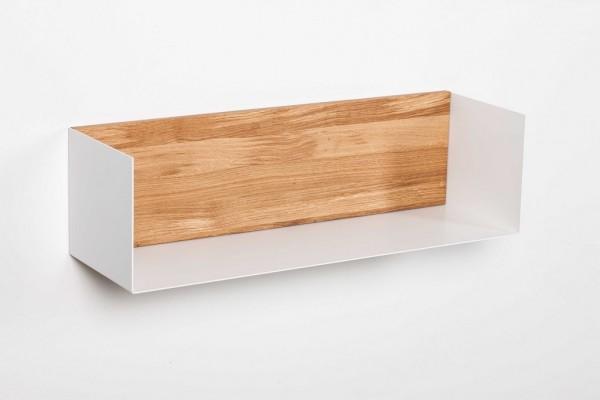 Wandregal 70cm 'Medina' Eiche & Metall weiß