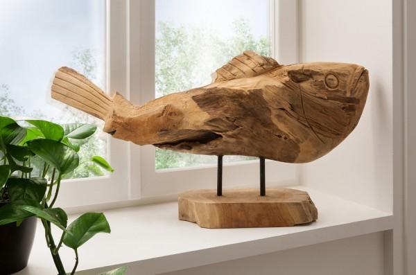"""Unikat Deko-Objekt 50cm """"Fisch"""" Teak natur"""