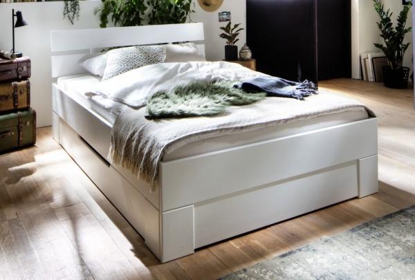 Bett mit Schubkästen 200x200cm 'Alma' Fichte weiß