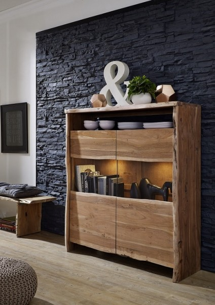 Highboard 131cm 'Dakar' Akazie massiv lackiert