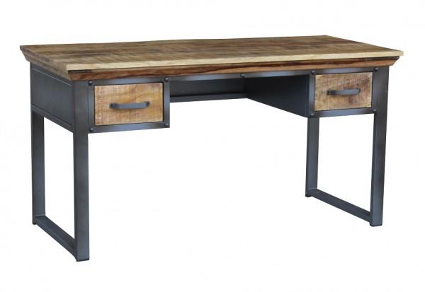 Schreibtisch 140cm 'Detroit' Mango natur Metall