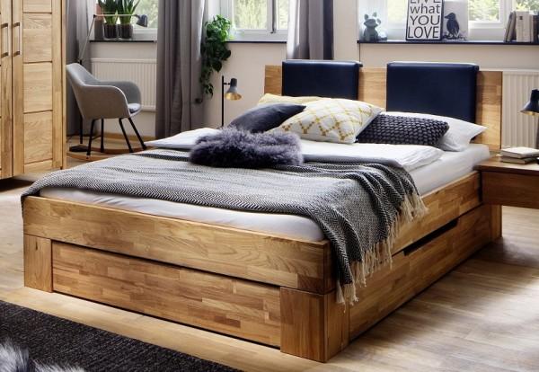 Bett mit Bettkästen 'Como' 180x200cm Wildeiche massiv