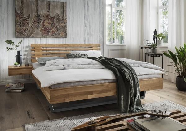 Doppelbett Kopfteil Lamellen 'Astoria III' 180x200cm Wildeiche geölt