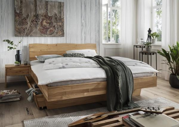 Doppelbett Kopfteil Baumkante 'Astoria II' 180x200cm Wildeiche geölt