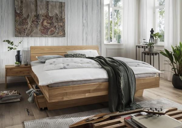 Doppelbett Kopfteil geteilt 'Astoria II' 180x200cm Wildeiche geölt