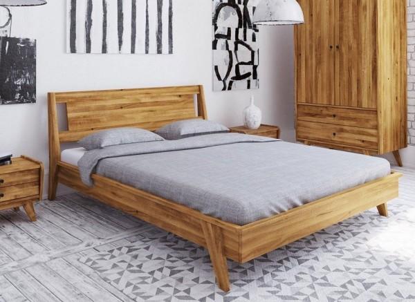 """Bett """"Villanders"""" 180x200cm Wildeiche massiv Kopfteil Holz"""