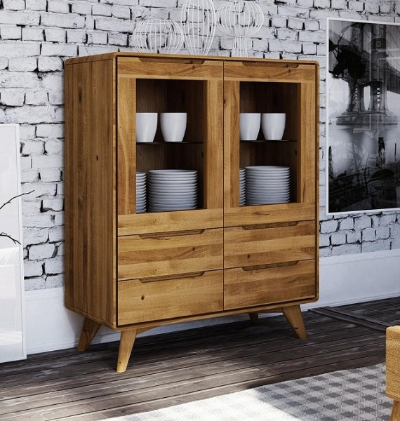 Highboard 90x110cm 'Jakob' Wildeiche massiv
