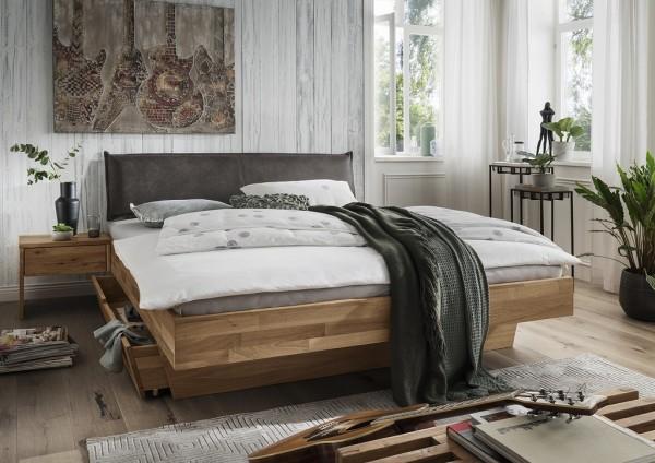 Doppelbett mit Polsterkopfteil 'Astoria II' 180x200cm Wildeiche geölt