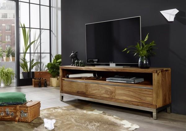 "TV Element II 170x56cm ""Orlando"" Sheesham & Edelstahl"