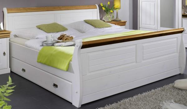 Bett mit Bettkästen 180x200cm 'Mailand-Honig' Kiefer weiß