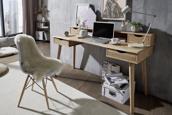Schreibtisch mit Aufsatz 150cm 'Alma' Wildeiche geölt