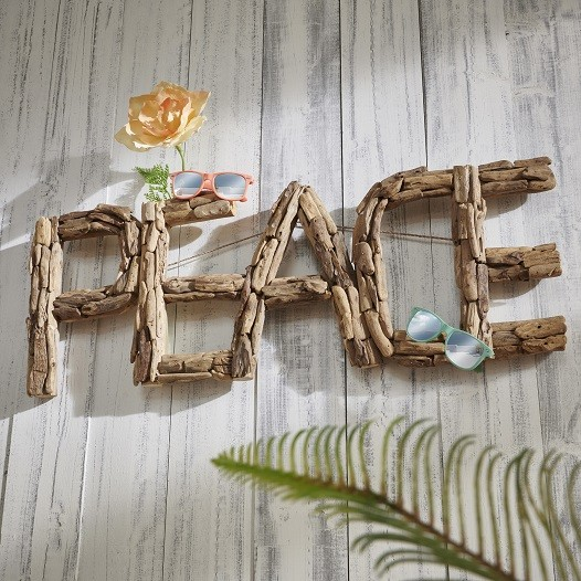 "Wanddeko Peace ""Style your Life"" recyceltes Holz"