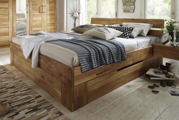 Bett mit Bettkästen 'Meran' 160x200cm Wildeiche geölt