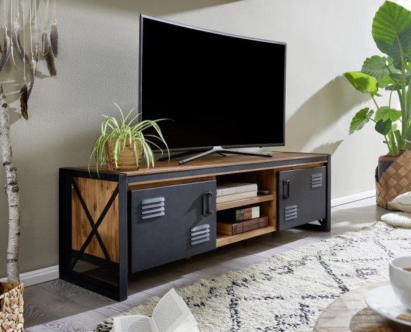 TV Element 162cm 'Montreux' Akazie & Metall schwarz