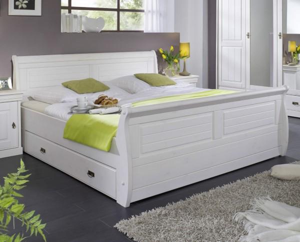 """Bett mit Bettkästen 140x200cm """"Mailand-Weiß"""" Kiefer weiß"""