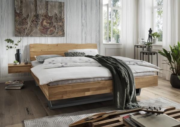 Doppelbett Kopfteil Baumkante 'Astoria III' 180x200cm Wildeiche geölt