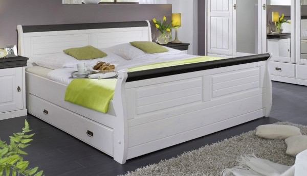 Bett mit Bettkästen 140x200cm 'Mailand-Kolonial' Kiefer weiß