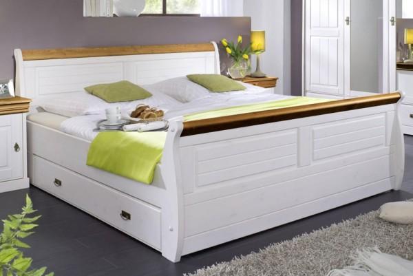 """Bett mit Bettkästen 140x200cm """"Mailand-Honig"""" Kiefer weiß"""