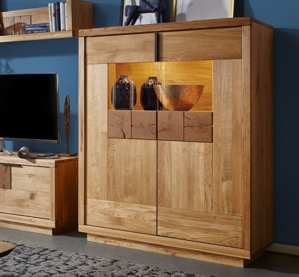 Highboard 116cm 'Breslau' Wildeiche geölt